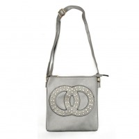 VK5377 Silver - Cross Body Bag With Jewel Decoration