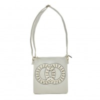 VK5377 White - Cross Body Bag With Jewel Decoration