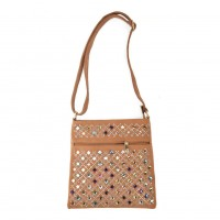 VK5378 Apricot - Cross Body Bag With Multicolours Jewel Decoration