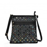 VK5378 Black - Cross Body Bag With Multicolours Jewel Decoration