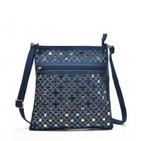 VK5378 Light Blue - Cross Body Bag With Multicolours Jewel Decoration