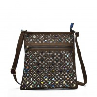 VK5378 Coffee - Cross Body Bag With Multicolours Jewel Decoration