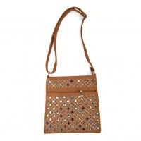 VK5378 Earth Yellow - Cross Body Bag With Multicolours Jewel Decoration
