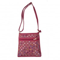 VK5378 Fushia - Cross Body Bag With Multicolours Jewel Decoration