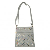 VK5378 Light Grey - Cross Body Bag With Multicolours Jewel Decoration