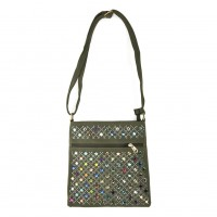 VK5378 Navy - Cross Body Bag With Multicolours Jewel Decoration