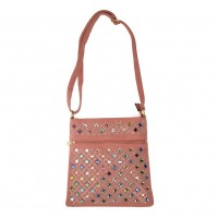 VK5378 Pink - Cross Body Bag With Multicolours Jewel Decoration