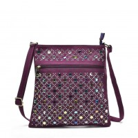 VK5378 Purple - Cross Body Bag With Multicolours Jewel Decoration