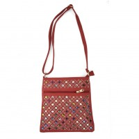VK5378 Red - Cross Body Bag With Multicolours Jewel Decoration