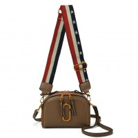 VK5382 Khaki - Cross Body Bag With Stars And Stripes Shoulder Straps