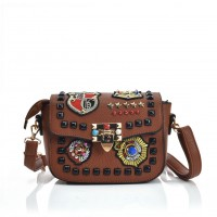 VK5384 Brown - Cross Body bag With Ornamental Badge And Stud