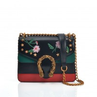 VK5388 Black - Embroidery Cross Body Bag With Metal decoration