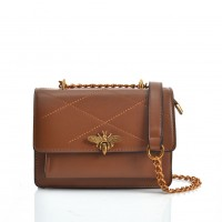 VK5395 Brown - Flat Seam Cross Body Bag With Bee Metal