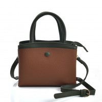 VK5401 Brown - Contrasting Colors Cross Body Bag With Button Design