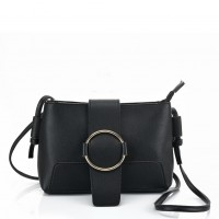 VK5432 Black - Cross Body Bag With Buckle Design