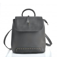 VK5435 Grey - Backpack With Zipper & Dome Studs Design