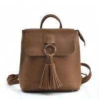 VK5436 Apricot - Backpack With Zipper & Tassels Design