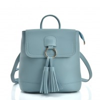 VK5436 Blue - Backpack With Zipper & Tassels Design