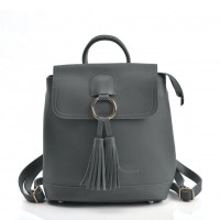 VK5436 Grey - Backpack With Zipper & Tassels Design
