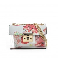 VK5440 White - Lucency Cross Body Bag With Floral Pattern
