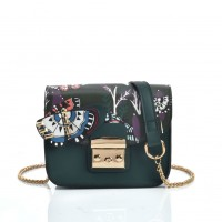 VK5445 Green - Cross Body Bag With Butterfly Pattern