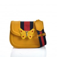 VK5452 Yellow - butterfly Pattern Cross Body Bag With Contrasting Colors Strap