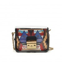 VK5453 Black - Lucency Cross Body Bag With Geometric Patterns