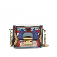 VK5453 Blue - Lucency Cross Body Bag With Geometric Patterns