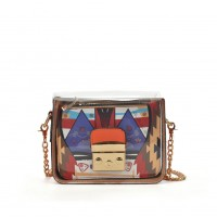 VK5453 Orange - Lucency Cross Body Bag With Geometric Patterns