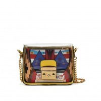 VK5453 Yellow - Lucency Cross Body Bag With Geometric Patterns
