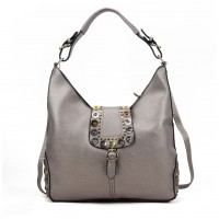 VK5470 Bronze - Buckle Bag With Buttons Design