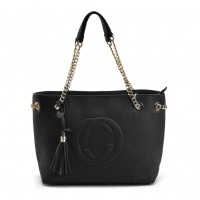VK5472 Black - Women Handbag With Tassel Trim