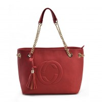 VK5472 Red - Women Handbag With Tassel Trim