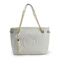VK5472 White - Women Handbag With Tassel Trim