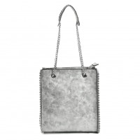 VK5474 Silver - Women Handbag With Long Chain Handles