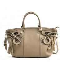 VK5479 Beige - Dual-Use Handbag With Multiple Zipper Design