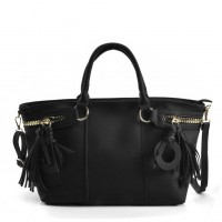 VK5479 Black - Dual-Use Handbag With Multiple Zipper Design
