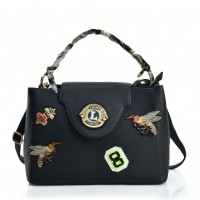 VK5481 Black - Cross Body Bag With Bee & Badge Patterns