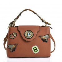VK5481 Brown - Cross Body Bag With Bee & Badge Patterns