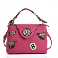 VK5481 Fushia - Cross Body Bag With Bee & Badge Patterns