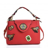VK5481 Red - Cross Body Bag With Bee & Badge Patterns