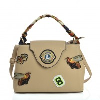 VK5481 White - Cross Body Bag With Bee & Badge Patterns