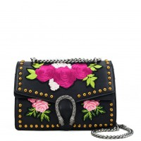 VK5482 Black - Floral Cross Body Bag With Studs Detail