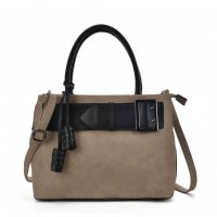 VK5484 Beige - Attractive Belt Design Handbag For Women