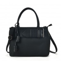 VK5484 Black - Attractive Belt Design Handbag For Women