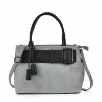 VK5484 Grey - Attractive Belt Design Handbag For Women