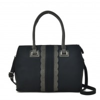 VK5485 Black - Beautiful Lace Handbag With Dome Studs