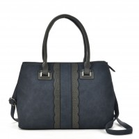 VK5485 Blue- Beautiful Lace Handbag With Dome Studs