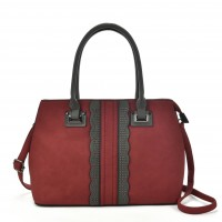 VK5485 Red- Beautiful Lace Handbag With Dome Studs