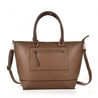 VK6024 Apricot - Women Simple Solid Patchwork Handbags